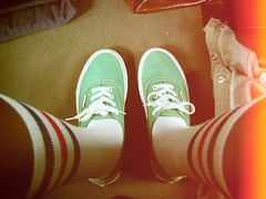 Knee High Socks & Canvas Kicks (Cherrybomb Ink) Tags: usa holiday ink florida oldschool sneakers trainers kicks americanapparel myfeet cherrybomb digitallomo vansauthentic holiday2008 cherrybombink toycameraanalogcolor pentacomsoftware meangreenkicks whatialwayswear canvaskicks