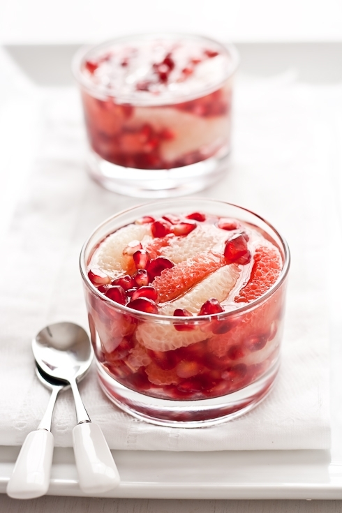 Grapefruit-Pomegranate in White Tea Jelly