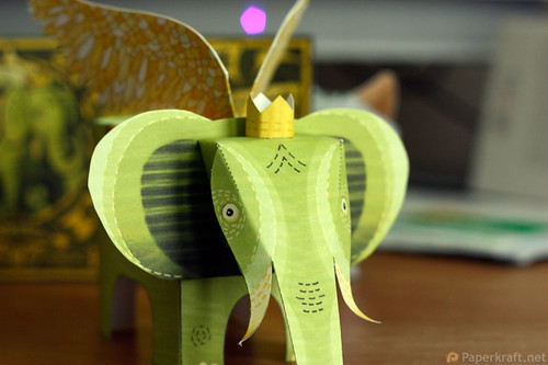 Winged Elephant Papercraft 02
