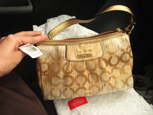 COACH NWT Madison Ikat Top Handle Pouch Gold 42684