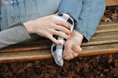 Socks & Toes (Artistic Feet) Tags: pink white black cute feet girl asian photography foot model sock toes pretty pattern skin artistic peach polish pale nails barefoot heels heel soles ankles