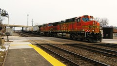 BNSF Railway intermodal switching movemment. Berwyn Illinois. Febuary 2010.