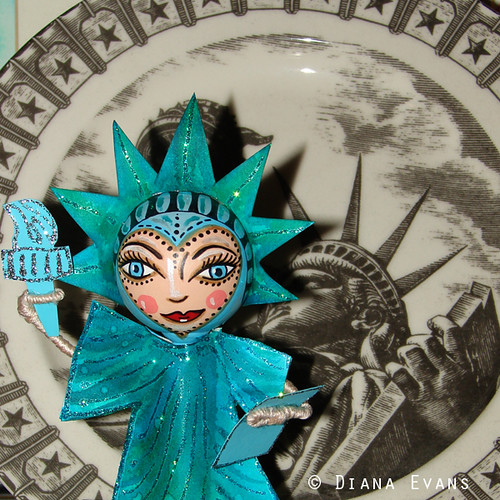 Liberty Lady wooden peg art doll