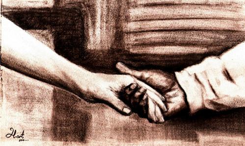 holding hands _ coal pen _ © h.art _2010