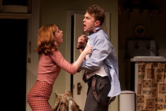 Meg Chambers Steedle (Cori) and John Wernke (Paul) (TwoRiverTheater) Tags: theater redbank trtc neilsimon barefootinthepark tworivertheaterco