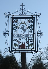 Goudhurst village sign, Kent (Louise and Colin) Tags: trees vacation england holiday english kent cherries iron village pears decorative craft apples ironwork blacksmith forge craftsman orchards hops fruittrees romneymarsh goudhurst oasthouse villagesign puddock selfcatering gardenofengland kentinvicta puddockfarm pinelodges