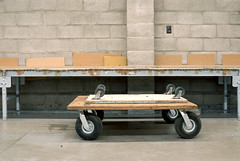 Two Dollies (mattski) Tags: warehouse cinderblock vancouver2010 flatdollies fourwheeldollies