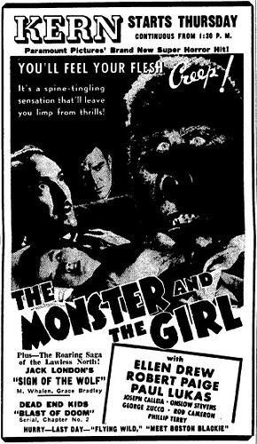 THE MONSTER AND THE GIRL (1941) Newspaper advertisement 3-26-41