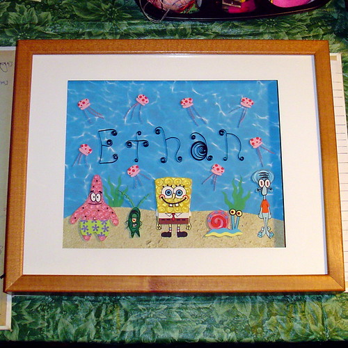 Paper Quilling SpongBob SquarePants in a shadowbox frame