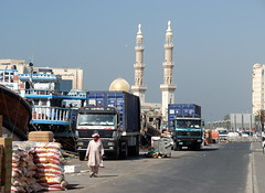 TRUCKING IN DUBAI (Claude  BARUTEL) Tags: truck mercedes dubai united transport emirates arab sharjah trucking