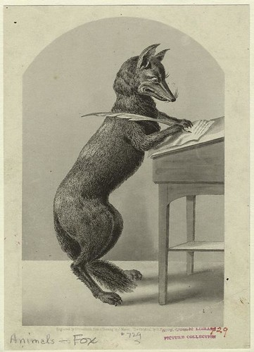 fox writing with a quill pen