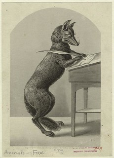 From http://www.flickr.com/photos/15100526@N08/4480056969/: fox writing with a quill pen