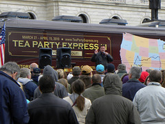 Tea Party Express at the Minnesota capitol (Fibonacci Blue) Tags: minnesota stpaul rally bachmann republican teaparty teapartyexpress tea party express conservative healthcare teabag teabagger government libertarian obama care insurance big small socialized socialism communist communism reagan bagger signs signage liberty constitution twincities bus capital capitol activism activist fascism fascist gop bush gwb health obamacare affordable act partier protest protesting protester