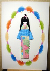 Japanese paper doll greeting card (tengds) Tags: pink flowers blue white green kimono obi fans multicolored greetingcard japanesepaper washi ningyo handmadedoll handmadecard chiyogami yuzenwashi japanesepaperdoll washidoll origamidoll tengds