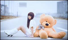 Left Behind (The Dream Seeker.) Tags: life road bear woman color colour cute art girl female asian toy photo still cool teddy image chinese young picture pic fantasy shade behind roadside left shawdow     context      contast                 bytheroad