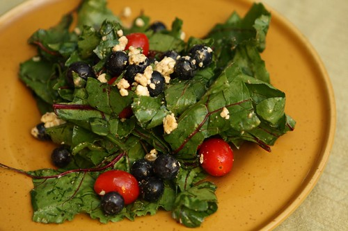 Beet Greens with Blueberries, Grape Tomatoes, Feta, and Balsamic