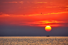 Colorful sun (grazanna) Tags: sunset sea sun sunrise boat barca tramonto mare alba sole tamron18200 canon1000d