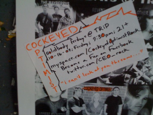 Flier for a band called 'Cockeyed Optimist'