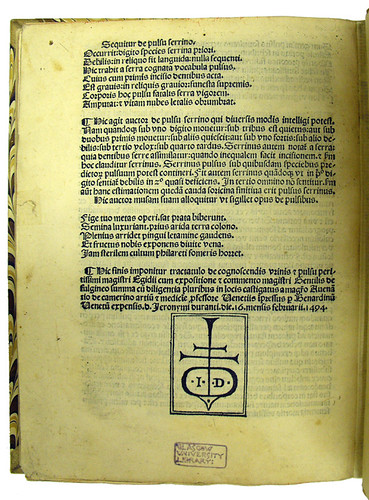 Colophon and printer's device in Aegidius Corboliensis: De urinis et de pulsibus
