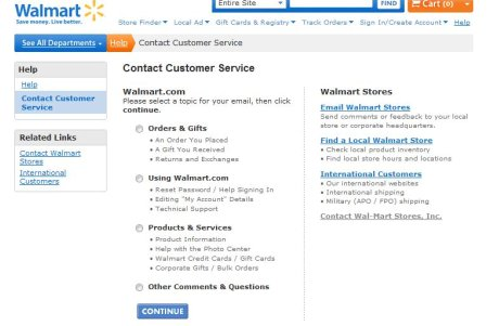 Wal-mart contact options
