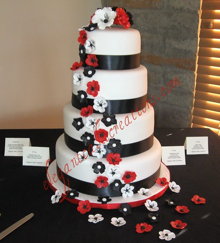 Black, white and red wedding cake - a photo on Flickriver
