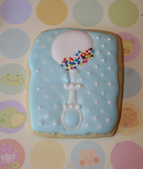 Baby Rattle (alicakescupcakery) Tags: blue boy beads cookie sugarcookie babyrattle alicakes alicakescupcakery