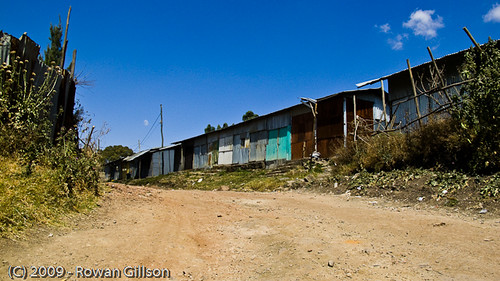 Dirt roads and corrugated metal shacks are a common sight in Addis Ababa, Ethiopia.