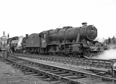 8F 48706 + BR class 4 2-6-4T 80043. Shepton Mallet. 6 March 1966 (ricsrailpics) Tags: uk bw 1966 steam charter sls sheptonmallet 8f somersetdorsetrailway class4264t exlms exbr