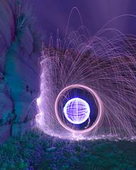 Down by the Priory gone purple (- Hob -) Tags: lightpainting circle raw orb sphere cropped lightball customwhitebalance lightsphere tynemouthpier lightorb lightjunkies woolflinging