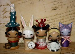 alice in wonderland spool dolls (the poppy tree) Tags: original white rabbit bunny art clock thread spools vintage painting doll dolls tea lace alice silk kitty pot cups clay bow albino ribbon madhatter cheshirecat spool queenofhearts thepoppytree