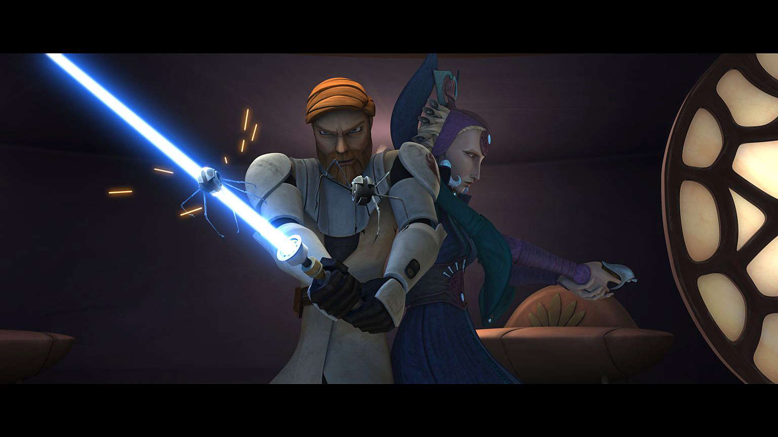 "Obi-Wan Kenobi and Duchess Satine Kryze of Mandalore prepare to fend off an attack in ""Voyage of Temptation,"" an all-new episode of STAR WARS: THE CLONE WARS premiering at 9:00 p.m. ET/PT Friday, February 5 on Cartoon Network. TM & © 2010 Lucasfilm Ltd. All rights reserved."