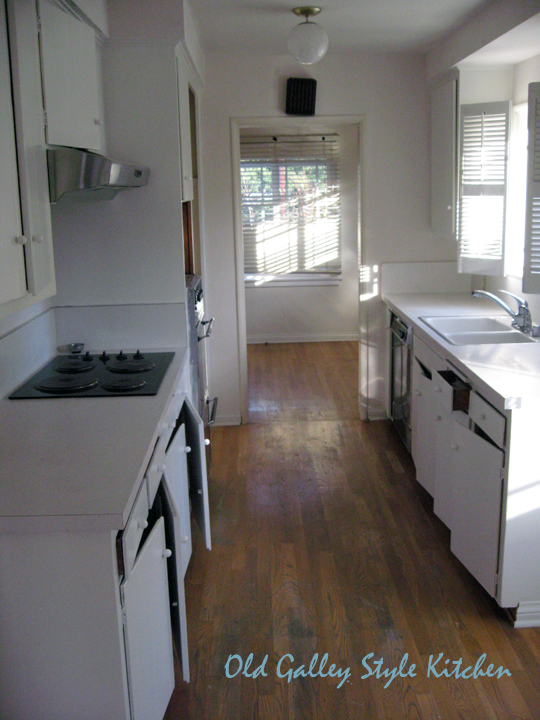 old galley kitchen wood floors