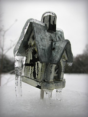 .a tiny winter storm (feather creative) Tags: winter snow birdhouse wintergarden icicles miniaturebirdhouse
