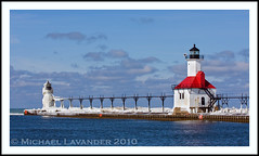 Saint Joseph Ligthhouses (Michael Lavander) Tags: winter usa lighthouse snow ice canon pier frozen michigan stjoseph lakemichigan greatlakes saintjoseph bentonharbor stjoe northpier 70200f28l southwestmichigan canon40d michaellavander httpmlavcom mikemlavcom