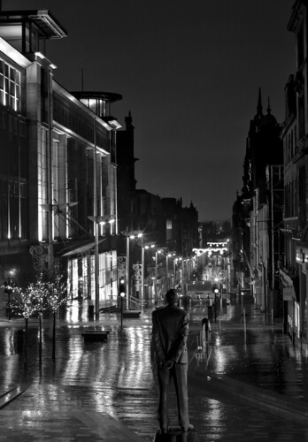 black and white city at night. buchannan street, glasgow city
