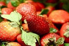 strawberrrrys. (arielllllllll) Tags: pink red cute fruit canon photography eos rebel strawberry pretty strawberries 500d t1i