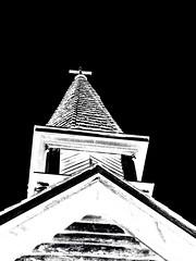 steeple 2 (calamityjan2008) Tags: blackandwhite bw church lines bc 1800s perspective steeple heritagebuilding invert blackdiamond woodenchurch churchsteeple blackwhiteaward 1800sbuilding vancouverislandchurch