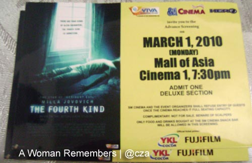 The Fourth Kind premiere tickets, SM MOA Cinema