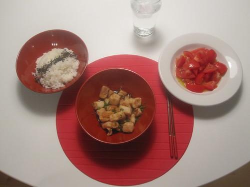 Sesame rice, adegashi tofu, tomato salad