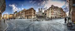 Piazza di Spagna and Trinità dei Monti, panoramic hdr - Rome, Italy