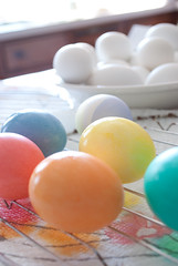 Huevos (unincbrtn) Tags: blue red orange color green yellow easter religious spring nikon colorful paint purple painted religion violet christian huevos eggs april christianity dye dyed passover eastereggs paintedeggs d3000 nikond3000