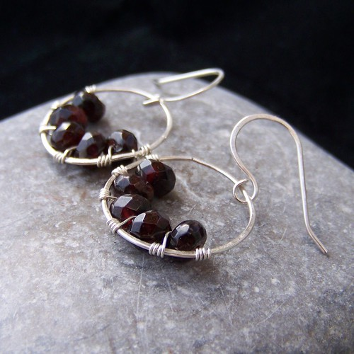 Hammered sterling silver and garnet earrings
