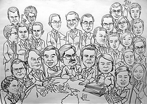 Group caricatures for Morgan Stanley A2 - inking