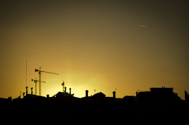 sunset skyline barcelona