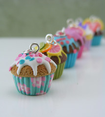 In A Row (Shay Aaron) Tags: food cup floral cake miniature rainbow geek handmade mini jewelry confetti collection polymerclay fimo cupcake tiny wearable 12th 112 dollhouse petit oneinchscale shayaaron