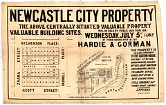 M1596 - Newcastle City Property Plan, Wednesday July 5th, 1882. (Cultural Collections, University of Newcastle) Tags: newcastle australia nsw newsouthwales scottstreet customhouse greatnorthern hunterregion parnellplace landsales stevensonplace zaarastreet subdivisionplans torrenstitle newcastlecityproperty hardiegorman northumberlandpermanentbuildinginvestmentlandandloansociety