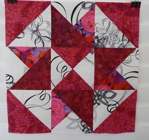 The first block from Sheila's Mystery Quilt