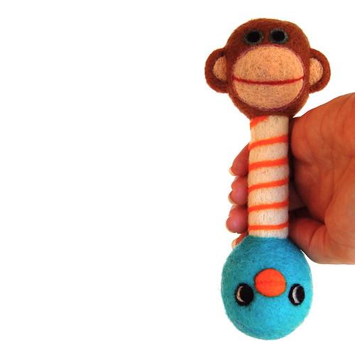 Needle felted Wool monkey Bluebird Rattle