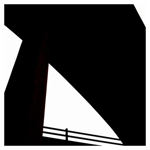 silhouette from underside of Kingston Bridge on M8 through Glasgow city centre