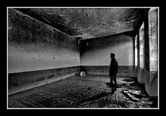 Loneliness is your only friend... (andzer) Tags: school shadow people bw white black window wall lady dark stand nikon room perspective ruin scout andreas explore middle 2009 vlasti kozani zervas andzer horizonsofculture horoc  wwwandzergr